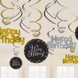 """swirls """"happy birthday"""" 12 stuks"""