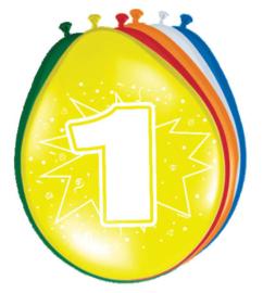 Ballonnen 30cm 1e Verjaardag
