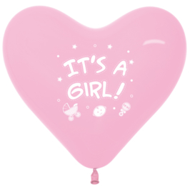 Hartjes Ballon Pastel Roze 'It's a girl'