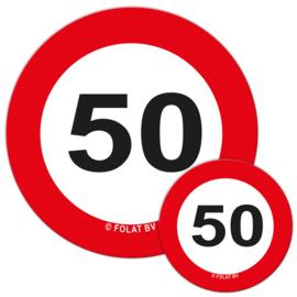 Tafeldecoratie Verkeersbord '50'