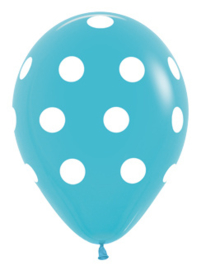 """Sempertex 12"""" Polka Dots Caribbean Blue zk á 25 st."""