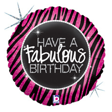 "Sempertex 18"" Holographic Balloon 'have a fabulous birthday'"