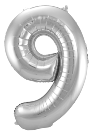 "Ballon 34"" Nummer 9 Zilver"
