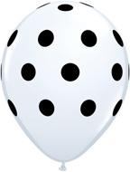 """Sempertex 12"""" Polka Dots Wit met Zwart zk. á 25 st."""
