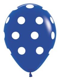 "Sempertex 12"" Polka Dots Royal Blauw zk á 25 st."