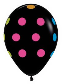 """12"""" Polka Dots Zwart met Neon"""