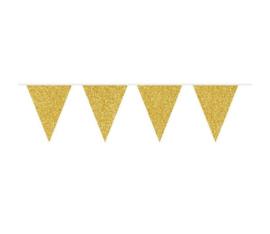 Vlaggen goud glitter 6m
