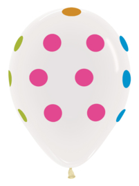 """12"""" Polka Dots Wit met Neon"""