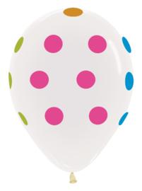 "Sempertex 12"" Polka Dots Wit met Neon zk. á 25 st."