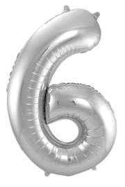 "Ballon 34"" Nummer 6 Zilver"