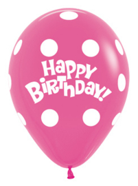 Ballon Polka Dots Fuchsia 'Happy Birthday'