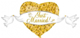 Folie ballon Goud Hartje 'Just Married!'