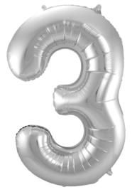 "Ballon 34"" Nummer 3 Zilver"