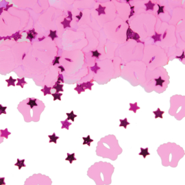 Tafeldecoratie voetjes & sterretjes roze