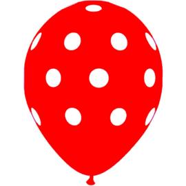 """Sempertex 12"""" Polka Dots Rood zk á 25 st."""