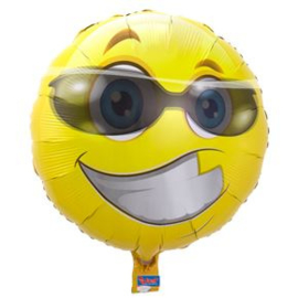 Folieballon Smiley met Bril