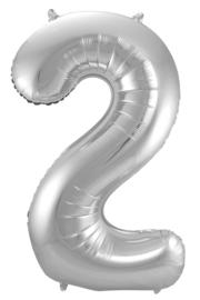 "Ballon 34"" Nummer 2 Zilver"