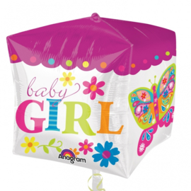 Folieballon Kubus 'Baby girl'