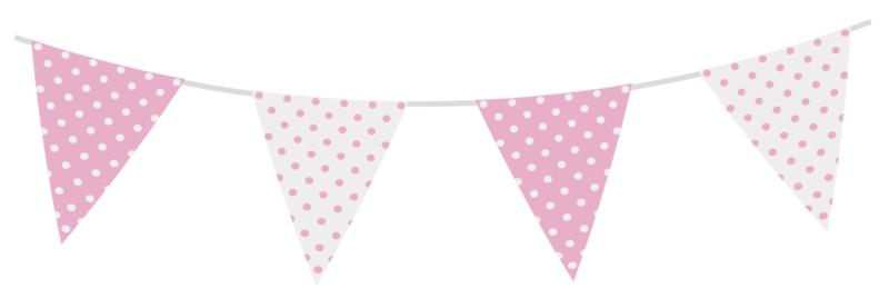 Vlaggen Gestipt Pastel Roze