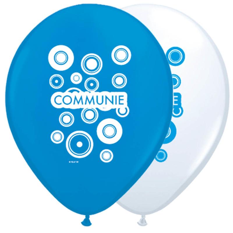 Ballonnen 30cm Communie Wit&Blauw