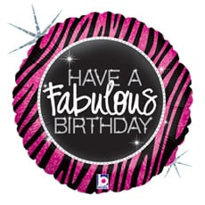 """Sempertex 18"""" Holographic Balloon 'have a fabulous birthday'"""