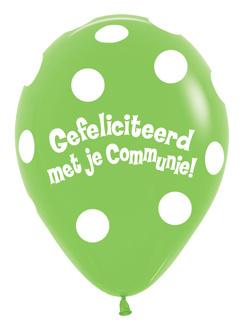 """Sempertex 18"""" Communie Stippen Groen zk. á 25 stuks"""