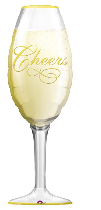 Folieballon Champagne Glas 'Cheers'