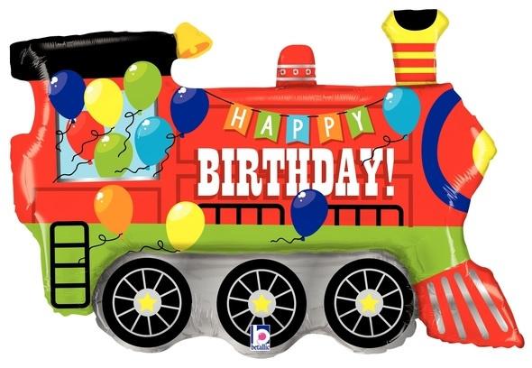 "Folieballon trein ""happy birthday"""