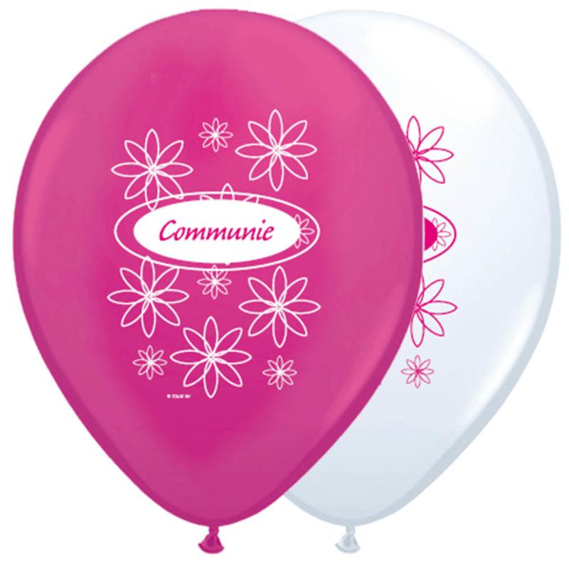 Ballonnen 30cm Communie Wit&Roze