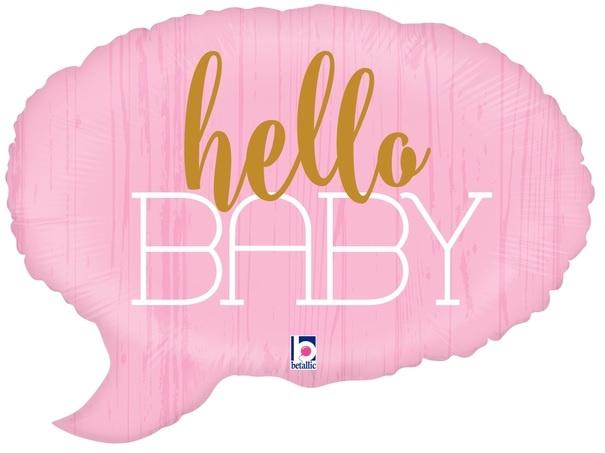 """'Hello baby' Roze Ballon 24"""""""