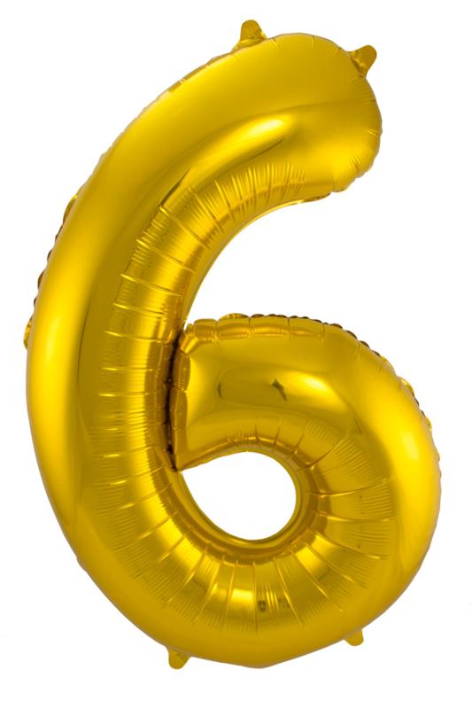 """Ballon 34"""" Nummer 6 Goud"""