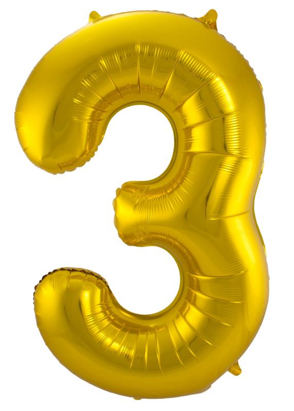 """Ballon 26"""" Nummer 3 Goud"""