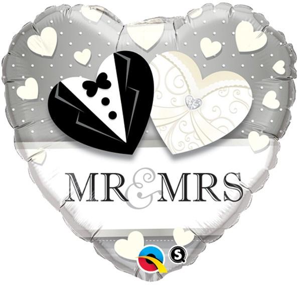 "Sempertex 18"" Heart Mr&Mrs"
