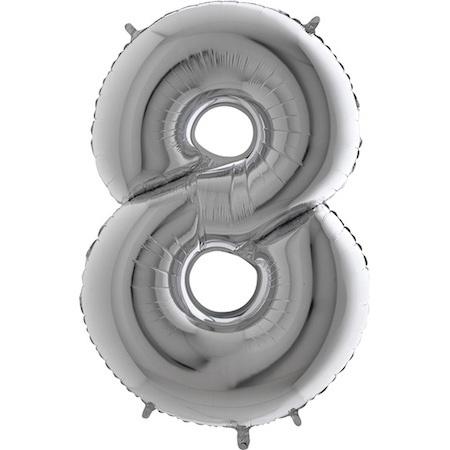 """Cijfer 8 26"""" Zilver"""