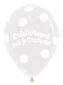 """Sempertex 18"""" Communie Stippen Wit zk. á 25 stuks"""