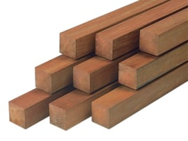 Hardhoutenpaal 70x70 mm