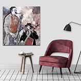 Canvas Muziek - rood - grijs - zwart