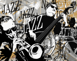 Canvas Muziek -  geel - zwart - wit - grijs