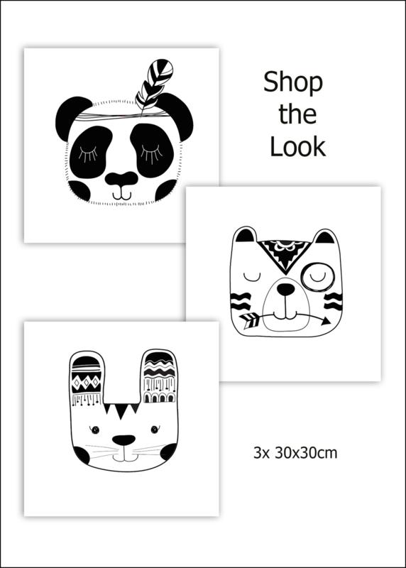 Kinderkamer CANVAS Cute Black Animals  3-delig