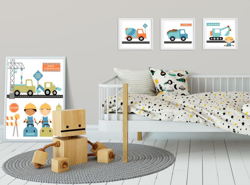 Kinderkamer poster  Construction 4-delig