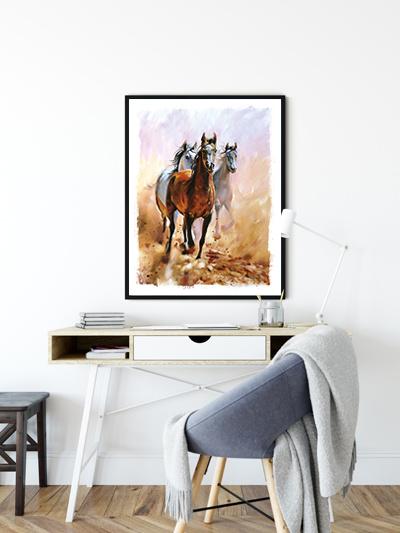 Kinderkamer poster Horses Beautiful Colors