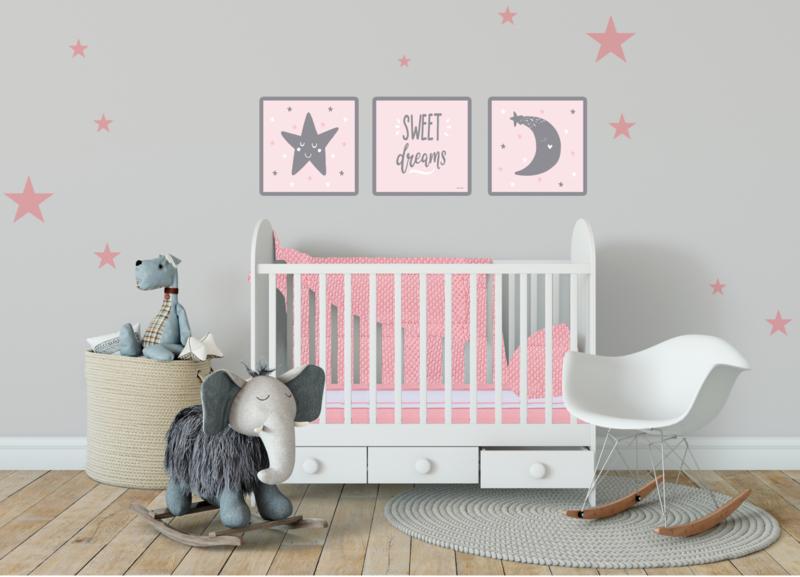 Kinderkamer CANVAS  Sweet Dreams 3-delig roze