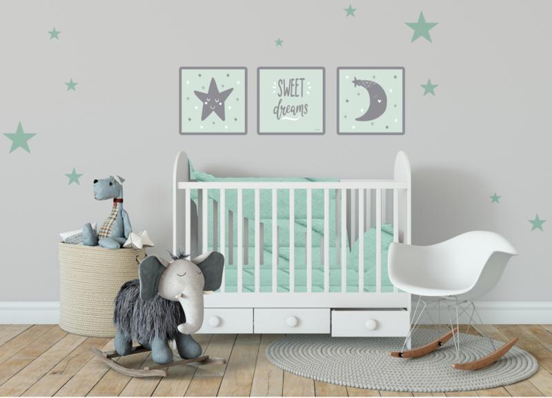 Kinderkamer poster 3- Delig CANVAS set 'Sweet Dreams'
