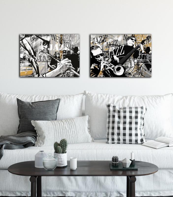 Canvas 2 Luik Muziek - zwart - geel - wit - grijs