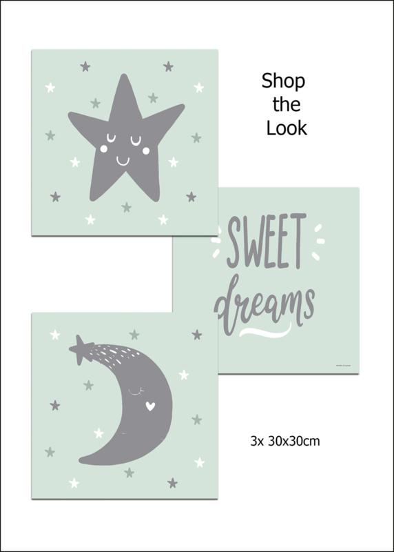 Kinderkamer CANVAS  3- Delig Poster set 'Sweet Dreams'