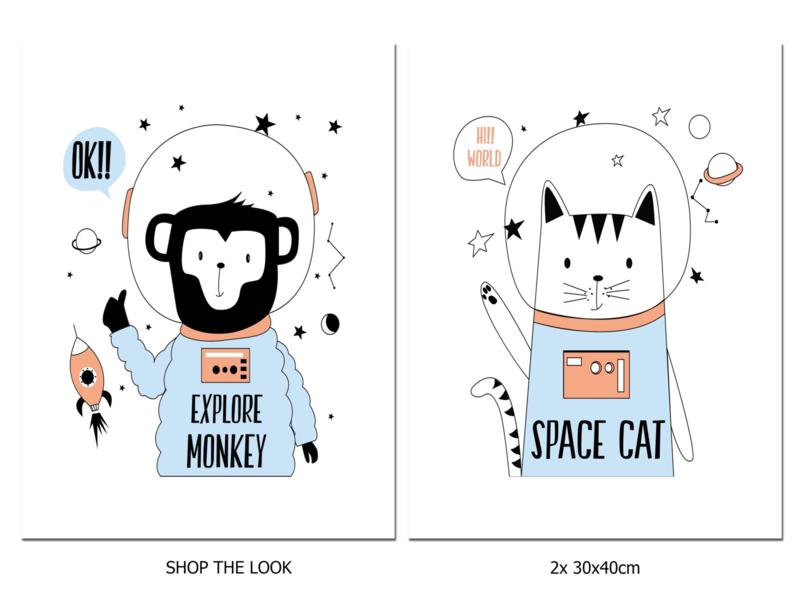 Kinderkamer poster Space Cat