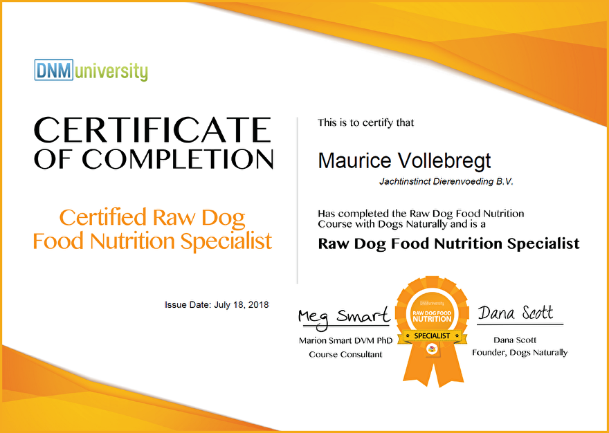 Certificaat 'Raw Dog Food Nutrition Specialist'
