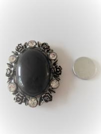Zwarte magneet broche (zwart | ovaal)
