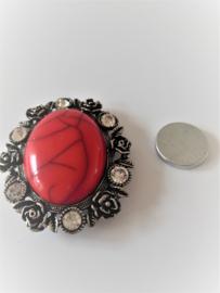 Rode magneet broche (rood | ovaal)