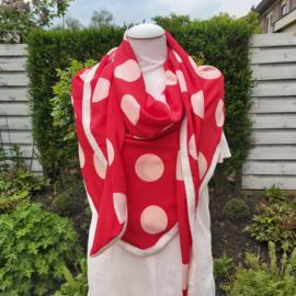 Polyester driehoek sjaal met band (rood| witte polka)